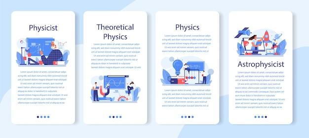 Set di banner per applicazioni mobili per fisici. scienziato esplora l'elettricità