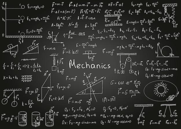 Formule di fisica disegnate a mano su una lavagna nera per l'illustrazione vettoriale di sfondo
