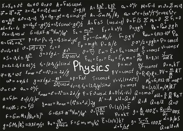 Formule di fisica disegnate a mano sulla lavagna nera per lo sfondo.