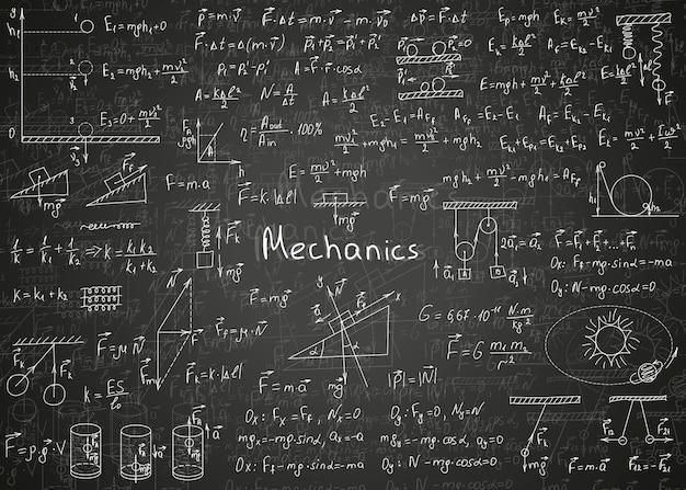 Formule di fisica disegnate a mano su una lavagna nera impura per lo sfondo
