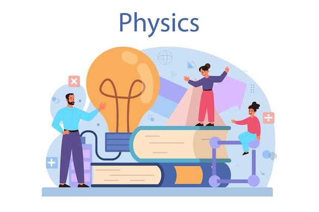 Concetto di materia scolastica di fisica. scienziato esplora elettricità, magnetismo, onde luminose e forze.