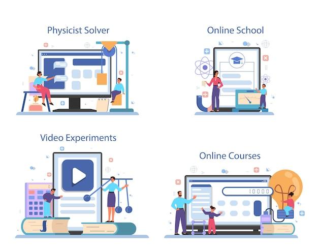 Servizio online di materie scolastiche di fisica o set di piattaforme. scienziato esplora elettricità, magnetismo, onde luminose e forze. risolutore online, corso, scuola, esperimento video.