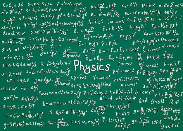 Formule bianche di fisica disegnate a mano su una lavagna verde per lo sfondo