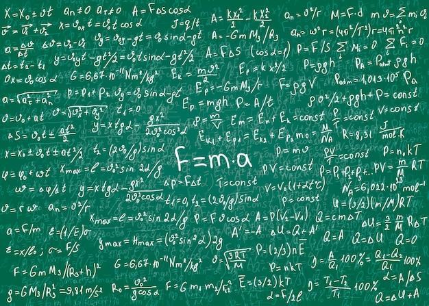 Formule bianche di fisica disegnate a mano su una lavagna sporca verde per lo sfondo. .