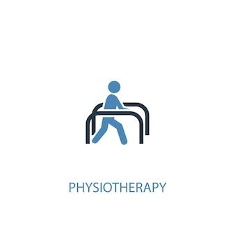 Concetto di fisioterapia 2 icona colorata. illustrazione semplice dell'elemento blu. disegno di simbolo di concetto di fisioterapia. può essere utilizzato per ui/ux mobile e web
