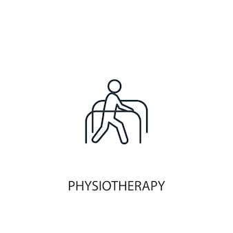 Icona della linea del concetto di fisioterapia. illustrazione semplice dell'elemento. disegno di simbolo di struttura di concetto di fisioterapia. può essere utilizzato per ui/ux mobile e web