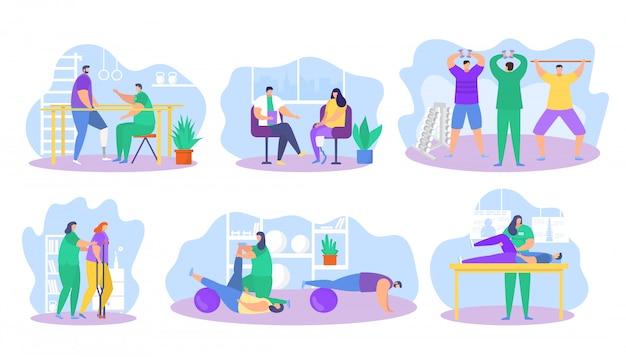 Illustrazione di assistenza di riabilitazione di fisioterapia, personaggio piatto paziente del fumetto sulle icone di terapia riabilitativa fisica