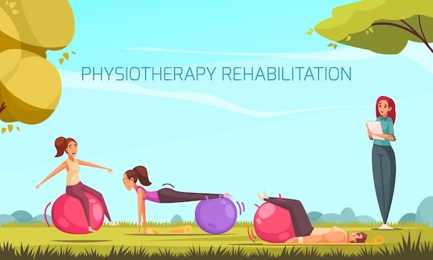 Composizione riabilitativa fisioterapica con un gruppo di personaggi umani che fanno esercizi fisici con palline e paesaggio all'aperto