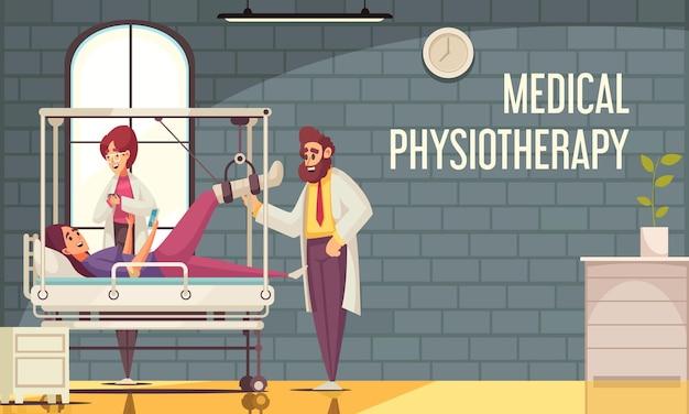 Composizione di riabilitazione fisioterapica con vista interna della clinica con caratteri doodle di medici paziente e testo