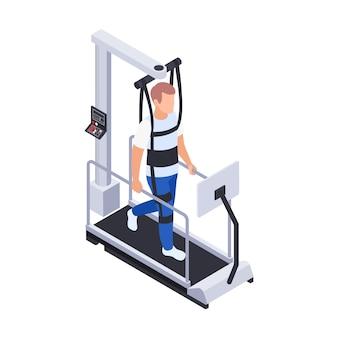 Composizione isometrica in riabilitazione di fisioterapia con l'uomo che cammina sull'illustrazione della macchina da corsa medica