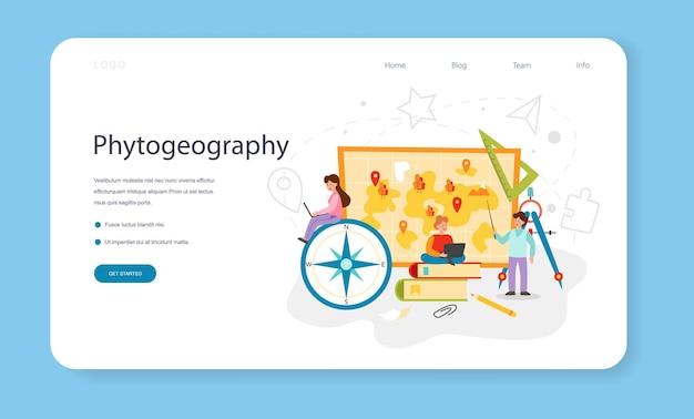 Banner web della classe di fitogeografia o pagina di destinazione che studia la botanica
