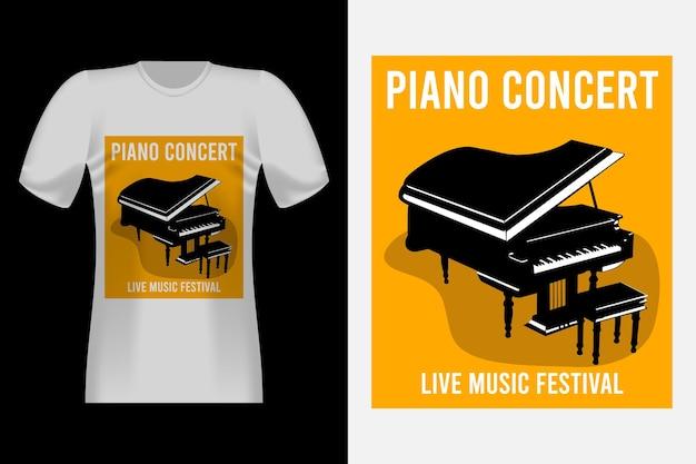 Design per t-shirt vintage in stile disegnato a mano da concerto per pianoforte