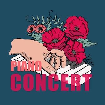 Concerto di pianoforte musicista a mano sui tasti del pianoforte e fiori rossi in stile schizzo