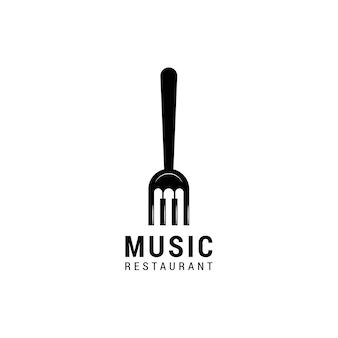 Design del logo musicale della forchetta del pianoforte