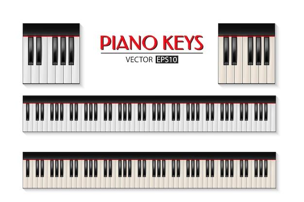 Insieme dell'icona della tastiera del pianoforte isolato su priorità bassa bianca.