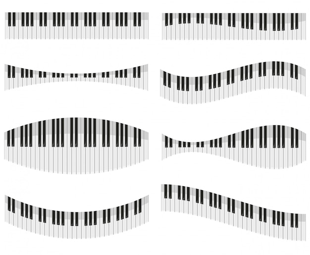 Tasti del piano per diverse forme di design illustrazione vettoriale