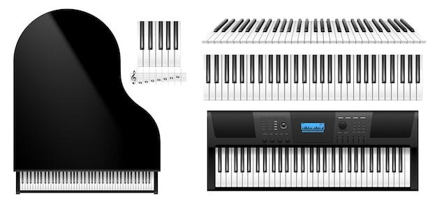 Vista dall'alto dei tasti del pianoforte. tastiera realistica dello strumento pianoforte classico e sintetizzatore elettrico digitale moderno isolato su priorità bassa bianca. illustrazione vettoriale