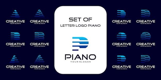 Collezione logo pianoforte con concetto iniziale. logo di riferimento