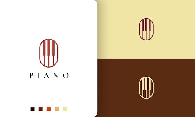 Logo o icona del pianoforte in stile minimalista e moderno