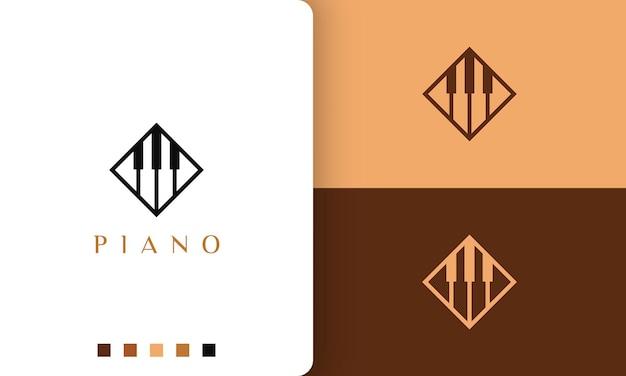 Logo del pianoforte in stile semplice e moderno adatto a musicista o orchestra