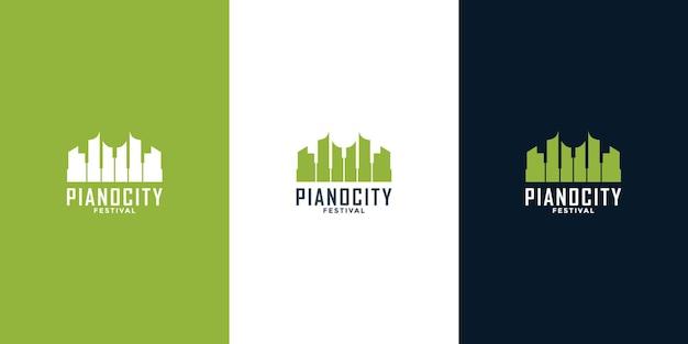 Idea di design del logo del pianoforte e dei grattacieli urbani