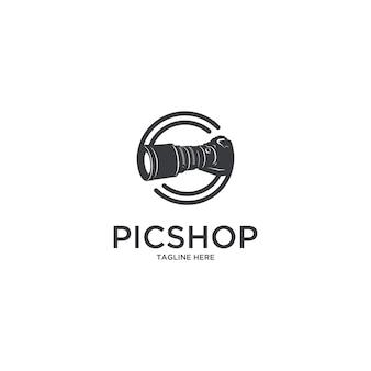 Logo del fotografo della macchina fotografica del pic shop