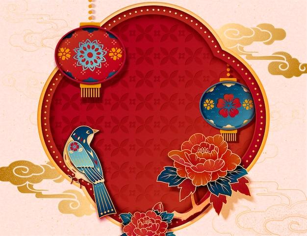 Fondo decorativo di arte di carta di pica pica, peonia e lanterne per il nuovo anno cinese
