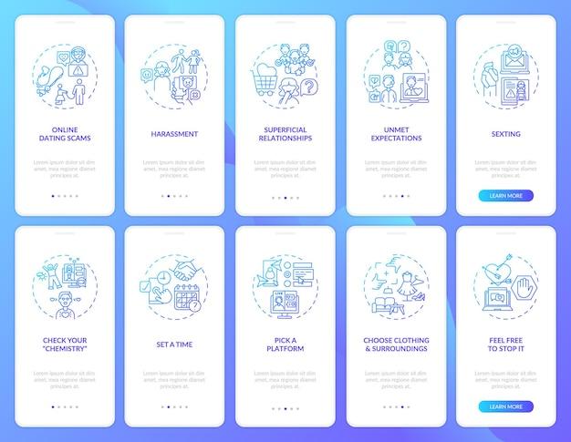 Scegli la schermata della pagina dell'app mobile per l'onboarding della piattaforma con i concetti. disattiva le aspettative attraverso 10 passaggi istruzioni grafiche.