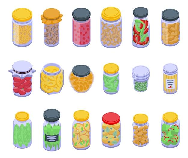 Set di icone di prodotti in salamoia. set isometrico di icone di prodotti in salamoia per il web design isolato su sfondo bianco
