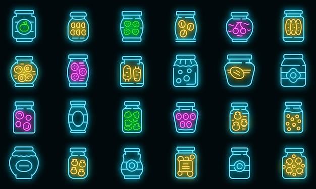 Set di icone di prodotti in salamoia neon vettoriale