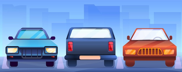 Banner di auto pickup, stile cartoon