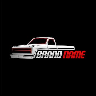 Modello di logo classico camioncino con sfondo nero