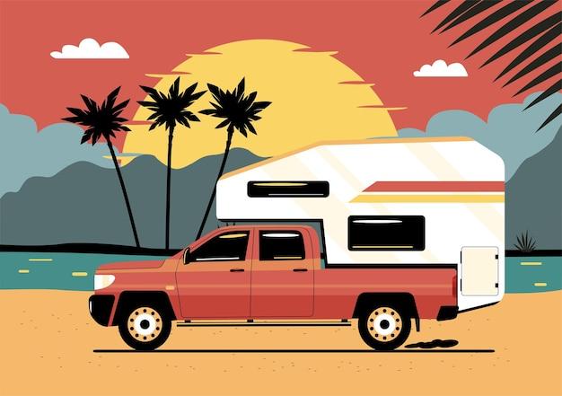 Camioncino con un rimorchio da turismo montato nella parte posteriore sullo sfondo di un paesaggio tropicale astratto. illustrazione vettoriale.