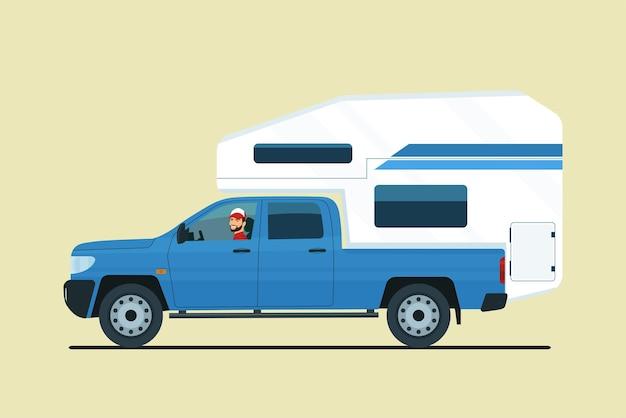 Camioncino con un rimorchio da turismo montato nella parte posteriore isolata. illustrazione vettoriale.