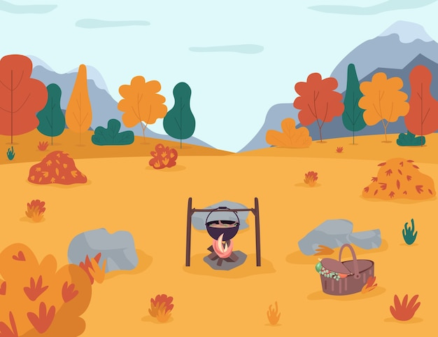 Picnic nell'illustrazione semi piana della foresta di autunno. campeggio nei boschi. escursioni per il tempo libero in famiglia in campagna. pentola sul falò. paesaggio autunnale stagionale dei cartoni animati 2d per uso commerciale