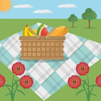 Cestino da picnic fiori di prato coperta