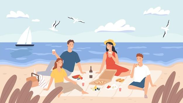 Picnic in spiaggia. il gruppo di amici si rilassa e mangia cibo in riva al mare. uomini e donne felici pranzano all'aperto. vacanza sul concetto di vettore di mare. gente che beve vino, assaggia pizza, gabbiani in volo
