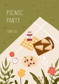 Concetto di picnic. coperta con cibo e fiori. illustrazione vettoriale disegnato a mano.