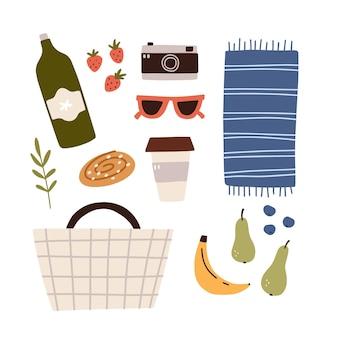 Concetto di picnic. set con cestino, cibo e altri elementi essenziali per il picnic. illustrazione vettoriale disegnato a mano.