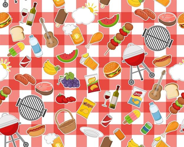 Reticolo senza giunte di giorno di picnic