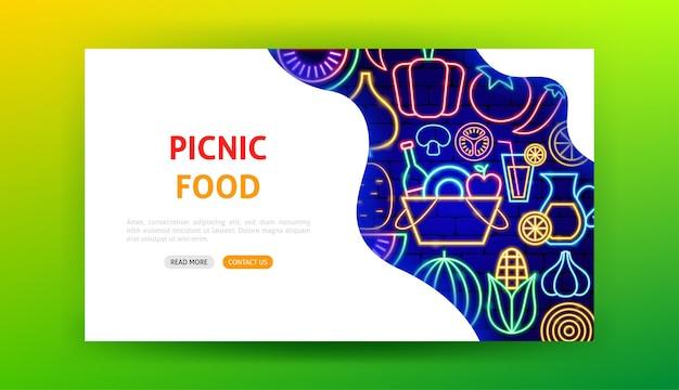 Pagina di destinazione al neon di cibo da picnic. illustrazione vettoriale di promozione di verdure.