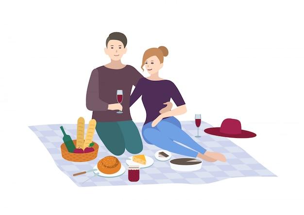 Pic-nic, illustrazione. coppia insieme all'aperto relax. peop