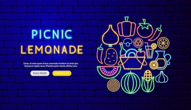 Picnic limonata neon banner design. illustrazione vettoriale di promozione alimentare.