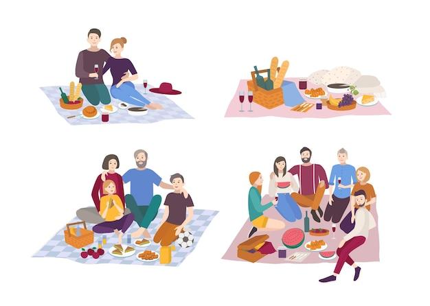 Picnic nel parco, set di illustrazioni vettoriali. coppia, amici, famiglia, all'aperto. scena ricreativa di persone in stile piatto.