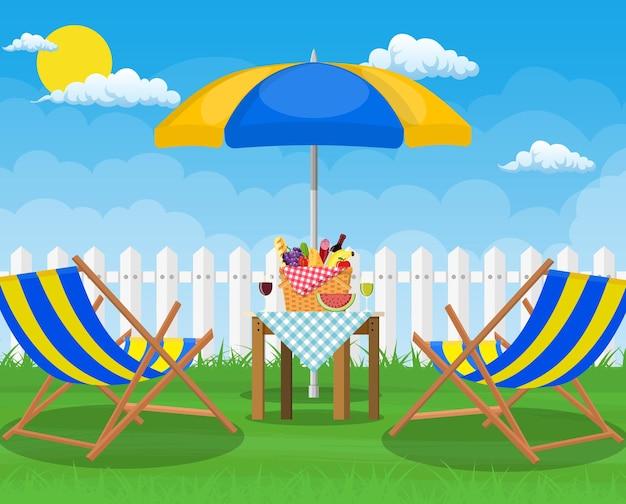 Festa picnic. lettino e ombrellone. piatto Vettore Premium
