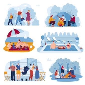 Insieme dell'illustrazione di vettore di attività estiva di picnic.