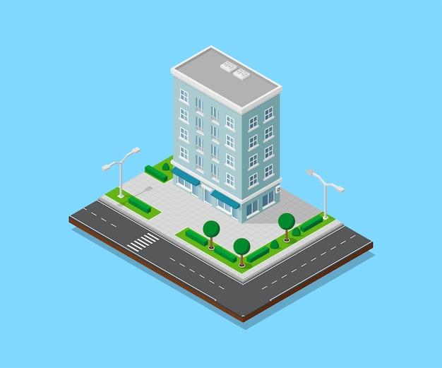 Immagine di una casa appartata con sentieri, strade, alberi e lampioni, edificio a basso poli, icona isometrica o elemento infografico per la creazione di mappe della città