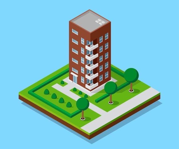 Immagine di una casa appartata con sentieri e alberi, edificio a basso poli, icona isometrica o elemento infografico per la creazione di mappe della città