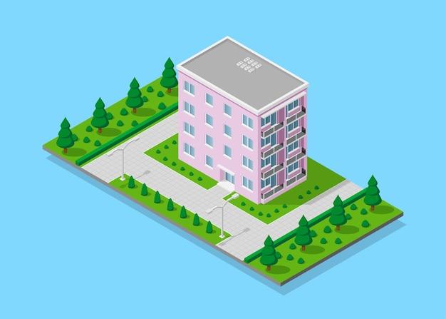 Immagine di una casa con sentieri, alberi e lampioni, edificio a basso poli, icona isometrica o elemento infografico per la creazione di mappe della città