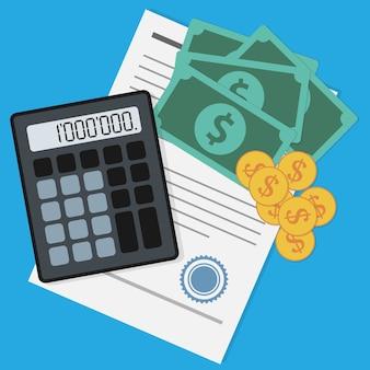 Foto di banconote, monete, calcolatrice e documento su sfondo blu, affari, guadagni, risparmi, investimenti e fare soldi concetto